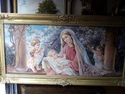 Eladó egy eredeti szép állapotban lévő  Madonna olaj vászon festmény !!!!!