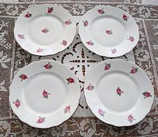 Zsolnay apró rózsákkal díszített süteményes tányérok (4 db)