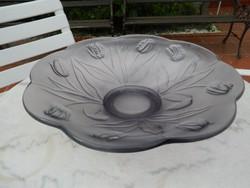 LEÁRAZTAM ! Impozáns - súlyos üveg kínáló asztalközép tulipános mintával