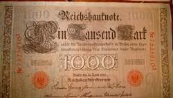 48 db RITKA NÉMET 1000 MÁRKA 1910-es ANTIK BANKJEGY, ZÖLD és PIROS SORSZÁMOKKAL GYŰJTEMÉNYBŐL