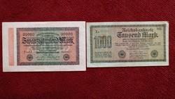2 db KÜLÖNBÖZŐ 1922-1923 RITKA NÉMET MÁRKA ANTIK BANKJEGY GYŰJTEMÉNYBŐL, 1000 és 20.000 MÁRKA
