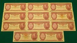11 db RÉGI MAGYAR 100 FORINT, KIVÁLÓ ÁLLAPOTÚ Ft BANKJEGY, UNC vagy aUNC