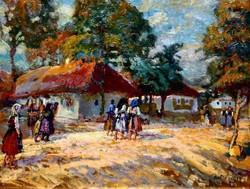 André Rezső Rudolf (1837-1920): Napsütésben sétálók