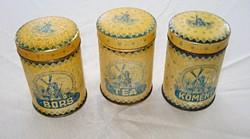 Fűszertartó pléhdobozok az 1940-es évekből (3 darab)