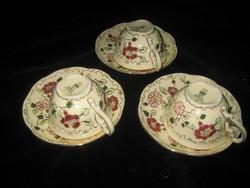 Zsolnay  mokkás , szép mintás csészék és tányérka  3db