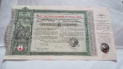 Magyar Szent korona Vörös kereszt egylete Kisorsolási kötvény 5 Forint 1886