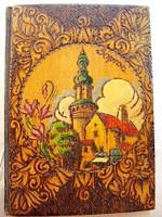 Soproni emlék füzet, díszes fa fedőlappal