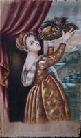 Nő kezében gyümölcskosár