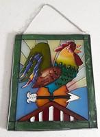 Art deco üvegre festett keretezett kép