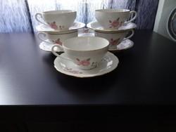 Jelzett csehszlovák porcelán vintage teás csésze és csészealj
