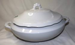 Antik Zsolnay fehér ovális leveses tál