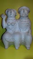 Török János - Zsolnay tervező - kétalakos kerámia szobor jelzett zsűrizett