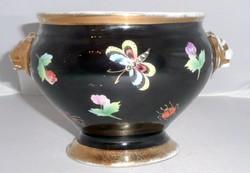 Antik Zsolnay kaspó pillangó, katica, virág díszítéssel