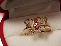 14K Pillangó gyűrű