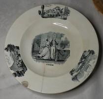 Antik Altrohlau jelenetes  tányér  ritka