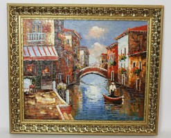 Beautiful Venice original landscape paintings, a charming large spectacular oil painting, gold frame