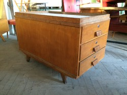 Retro régi fiókos iroda bútor loft tároló szekrény asztal