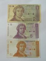 1991 Horvát 1,5,25 dinár.