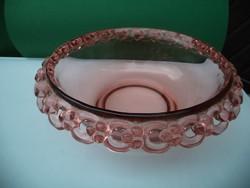 Gyönyörű rózsaszín üveg kompótos tál  22 cm átmérő