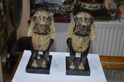 2 darab réz indonéz figura márvány talpon