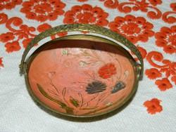 Réz Cloissone dísztál  kedves virágos tűzzománc díszítéssel
