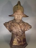 Art Nouveau Goldscheider - Dutch Girl - Holland lány - antik terrakotta kerámia büszt