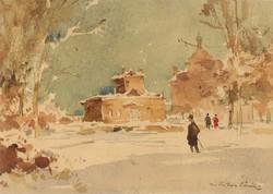Csallóközi Farkas Lőrinc (1898-1966) Téli Utcakép Város Lakszakállas Templom Kalapos Férfi Sétapálca