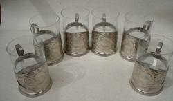 Orosz fém teás pohártartó készlet 6 pohárral