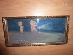 F. Farkas Rónai, 1918 Bpest jelzéssel: A kis felfedezők, régi akvarell