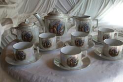 Zsolnay mitológiai alakos lüsztermázas porcelán teáskészlet