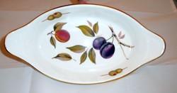 Angol porcelán olivabogyós gyümölcskínáló, asztalközép