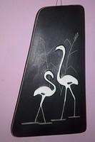 Art deco  Flamingópár -  kedves kerámia falikép