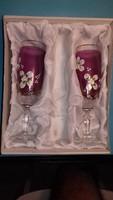 Kézzel festett csodaszép plasztikus virágos pezsgős pohár pár