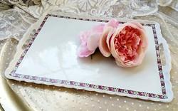 Rózsás füles porcelán tálca