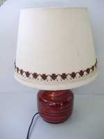 Retro iparművészeti kerámia cseresznyeszínű lámpa,asztali lámpa
