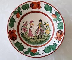 Régi Gránit népi fali tányér magyaros motívummal 23 cm