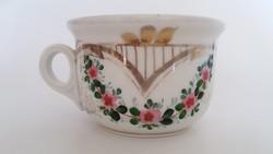 Régi komacsésze vastagfalú porcelán rózsagirlandos csésze