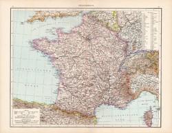 Franciaország térkép 1881, német, eredeti, régi