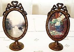 Talpas álló bronz kép vagy fényképkeret  pár