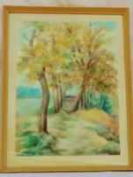 Szabó Pál Tájkép akvarell festmény