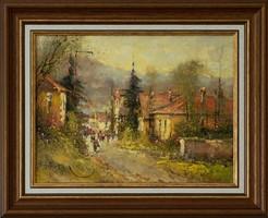 Eredetigazolással, visszavásárlási garanciával ; Jakubik István, Szülőfalum olaj festménye