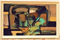 Papp Gábor ( 1936-) Csendélet c. képcsarnokos festménye106xx66cm Eredeti Garanciával