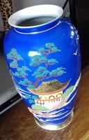 Ritka szep keleti porcelán vaza 25 x 9.5 cm