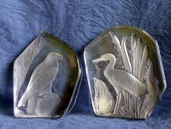 Régi Goebel madaras, súlyos vastag kristály 2 db együtt