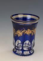Biedermeier pohár aranyozott szőlő motívummal