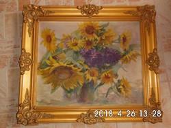 Napraforgós csendélet olaj-vászon 64x73 cm kerettel