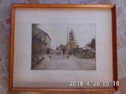 Dudás Jenő (1902–1991) : Tihanyi konda-Színezett rézkarc