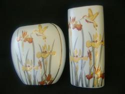 2 db liliomos paradicsom madaras  art deco magyar címeres váza pár