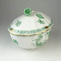 0Q443 Indiai kosaras Herendi porcelán bonbonier