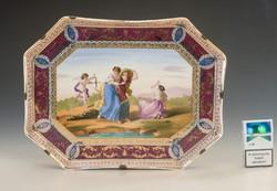 Bécsi jelzésű kézzel festett tányér mitológiai jelenettel